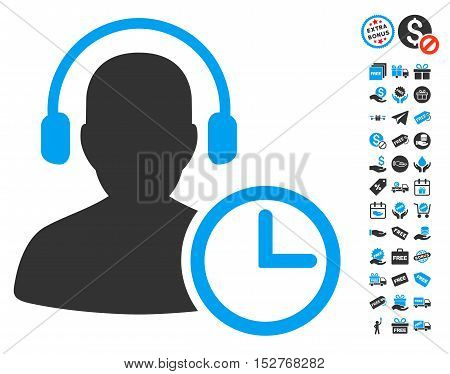 Operator Time pictograph with free bonus pictures. Vector illustration style is flat iconic symbols, blue and gray colors, white background.
