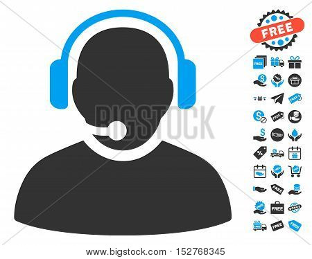 Operator icon with free bonus images. Vector illustration style is flat iconic symbols, blue and gray colors, white background.