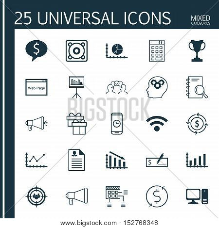 Set Of 25 Universal Editable Icons For Marketing, Advertising And Management Topics. Includes Icons