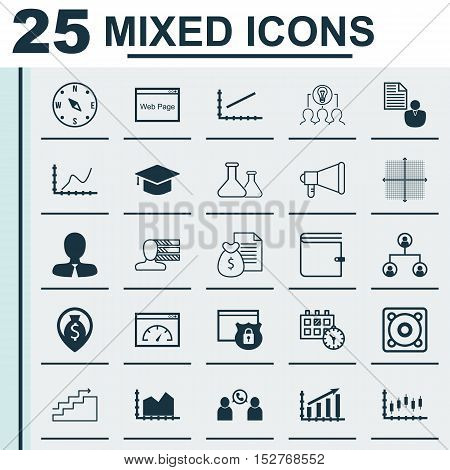 Set Of 25 Universal Editable Icons For Computer Hardware, Human Resources And Traveling Topics. Incl