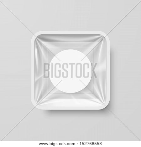 Empty White Plastic Food Square Container with Round Label