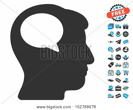 Person Thinking icon with free bonus clip art. Vector illustration style is flat iconic symbols, blue and gray colors, white background.