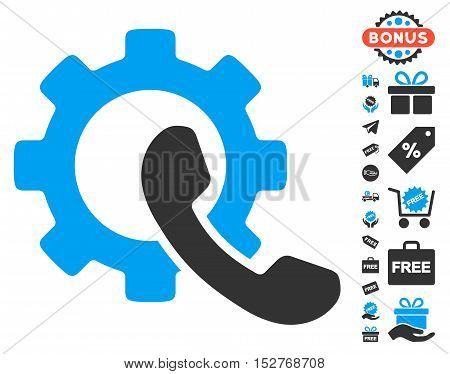 Phone Configuration icon with free bonus clip art. Vector illustration style is flat iconic symbols, blue and gray colors, white background.