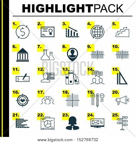Set Of 25 Universal Editable Icons For Statistics, Traveling And Business Management Topics. Include