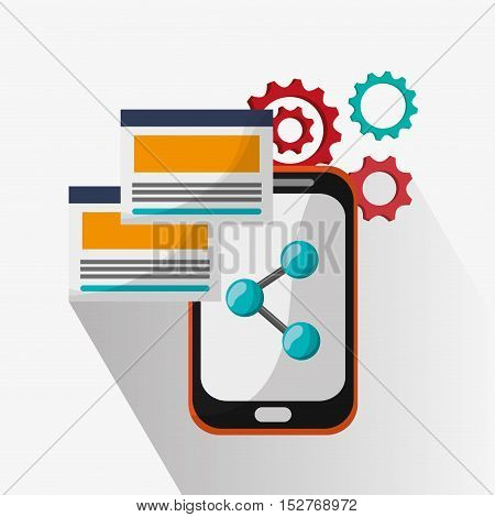 Smartphone and share icon. Social media and digital marketing theme. Colorful design. Vector illustration