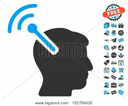 Radio Neural Interface pictograph with free bonus graphic icons. Vector illustration style is flat iconic symbols, blue and gray colors, white background.