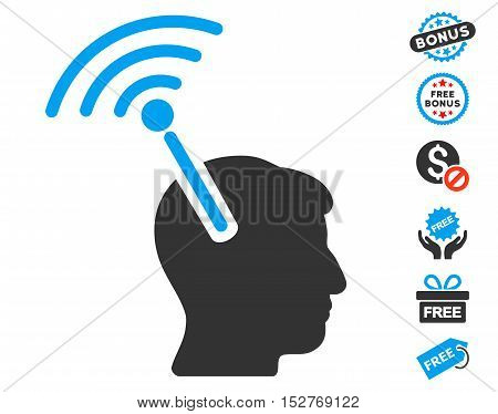 Radio Neural Interface pictograph with free bonus icon set. Vector illustration style is flat iconic symbols, blue and gray colors, white background.
