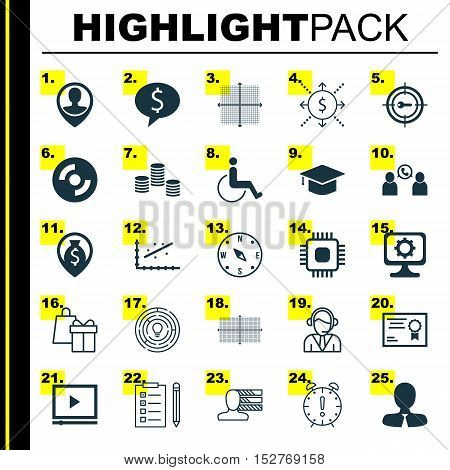 Set Of 25 Universal Editable Icons For Management, School And Project Management Topics. Includes Ic