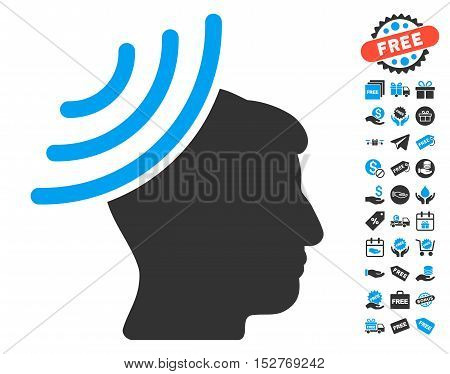 Radio Reception Mind icon with free bonus icon set. Vector illustration style is flat iconic symbols, blue and gray colors, white background.