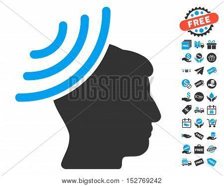 Radio Reception Mind icon with free bonus icon set. Vector illustration style is flat iconic symbols, blue and gray colors, white background.