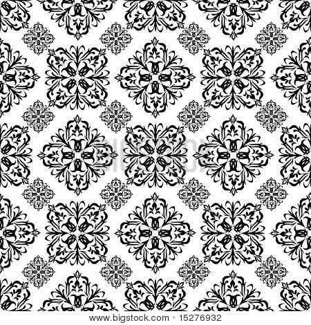 Mono schwarz Tapete mit nahtlosen sich wiederholenden mit weißem Hintergrund