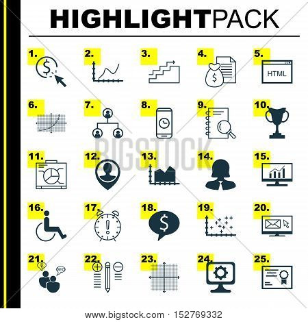 Set Of 25 Universal Editable Icons For Management, Traveling And School Topics. Includes Icons Such