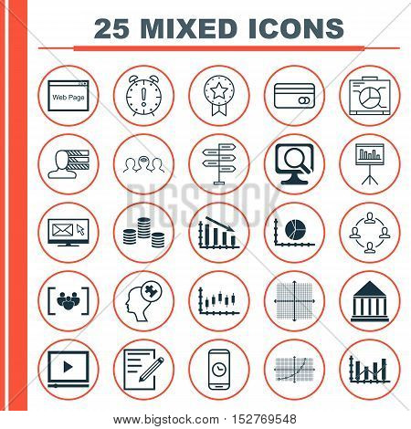 Set Of 25 Universal Editable Icons For School, Seo And Computer Hardware Topics. Includes Icons Such
