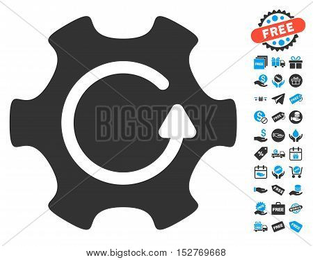Rotate Gear pictograph with free bonus clip art. Vector illustration style is flat iconic symbols, blue and gray colors, white background.