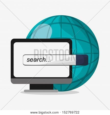 Computer and search icon. Social media and digital marketing theme. Colorful design. Vector illustration