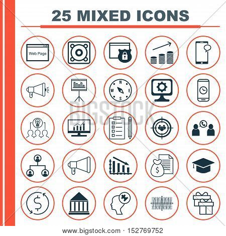 Set Of 25 Universal Editable Icons For Advertising, Hr And Seo Topics. Includes Icons Such As Focus