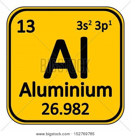 Periodic table element aluminium icon on white background. Vector illustration.