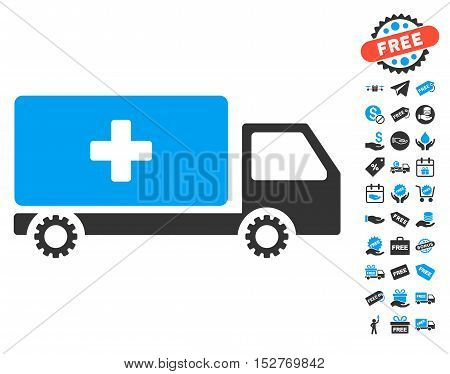 Service Car icon with free bonus pictograph collection. Vector illustration style is flat iconic symbols, blue and gray colors, white background.