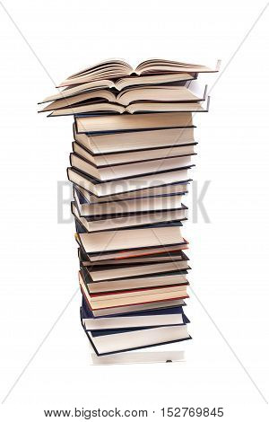 Pile of books isolated on white background