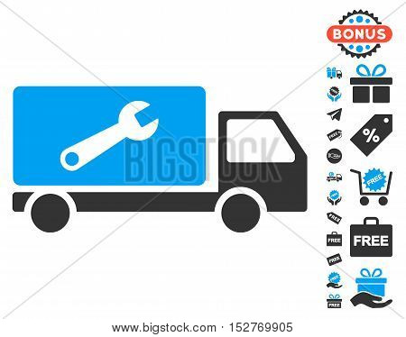 Service Car icon with free bonus icon set. Vector illustration style is flat iconic symbols, blue and gray colors, white background.