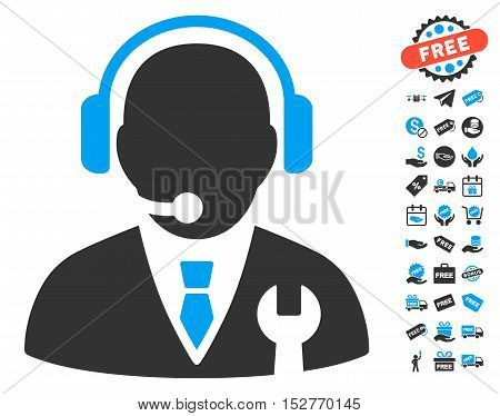 Service Manager pictograph with free bonus clip art. Vector illustration style is flat iconic symbols, blue and gray colors, white background.