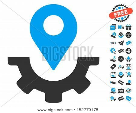 Service Map Marker icon with free bonus pictograph collection. Vector illustration style is flat iconic symbols, blue and gray colors, white background.