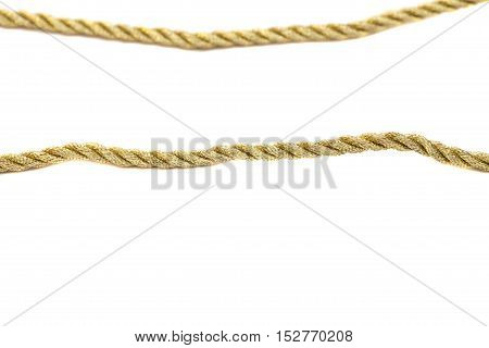 golden rope isolated on a white background