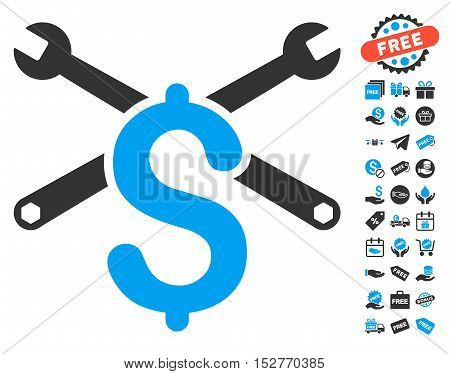 Service Price icon with free bonus pictures. Vector illustration style is flat iconic symbols, blue and gray colors, white background.