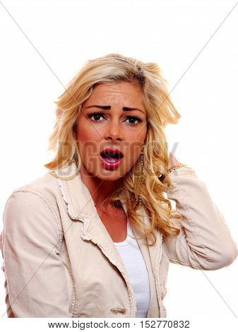 A image of a shocked surprised American caucasian blond woman