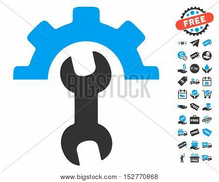 Service Tools pictograph with free bonus pictures. Vector illustration style is flat iconic symbols, blue and gray colors, white background.
