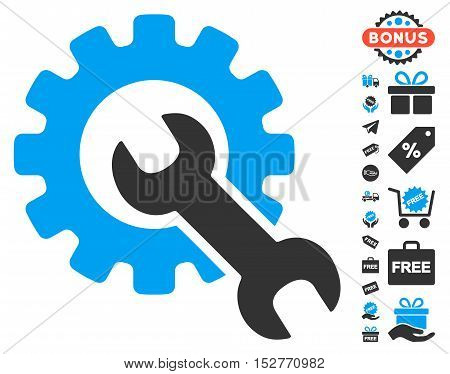 Service Tools icon with free bonus design elements. Vector illustration style is flat iconic symbols, blue and gray colors, white background.
