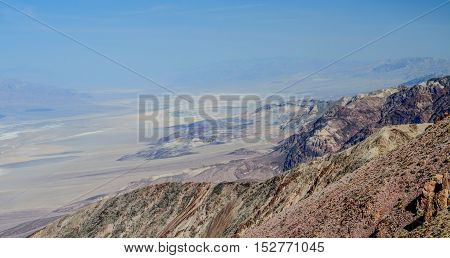 Aerial panorama of Dante's view in Death Valley National Park desert overlook in California