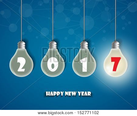 Happy New 2017 Year. Greetings Card. Colorful Design. Vector Illustration