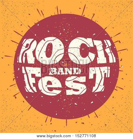 Rock band fest print, hipster vintage label, graphic design with grunge effect, tee print stamp. t-shirt lettering artwork, Vector illustration in flat style isolated from the background