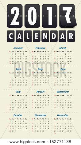 2017 Modern calendar template .Vector . illustration.