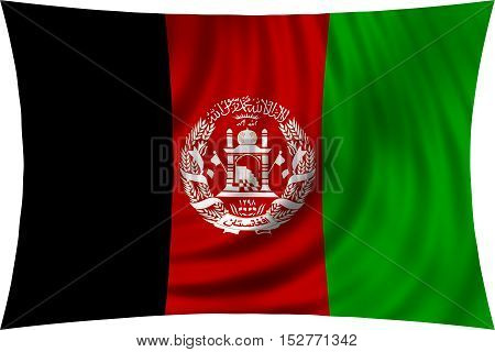 Afghan national official flag. Patriotic symbol banner element background. Correct colors. Flag of Afghanistan waving isolated on white 3d illustration