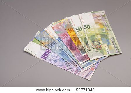 Swiss francs currency of switzerland isolated on gray