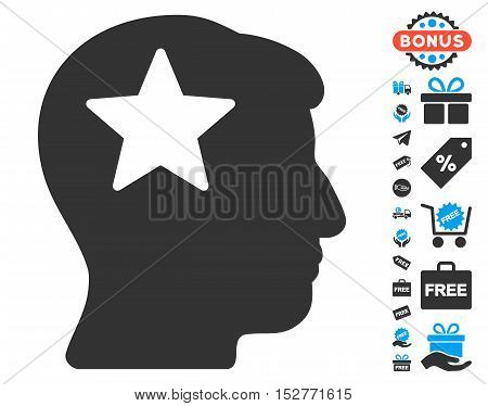 Star Head icon with free bonus images. Vector illustration style is flat iconic symbols, blue and gray colors, white background.