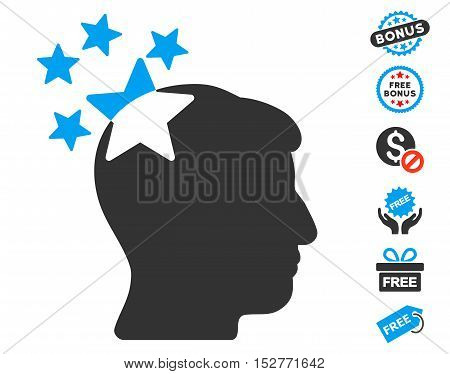 Stars Hit Head icon with free bonus design elements. Vector illustration style is flat iconic symbols, blue and gray colors, white background.