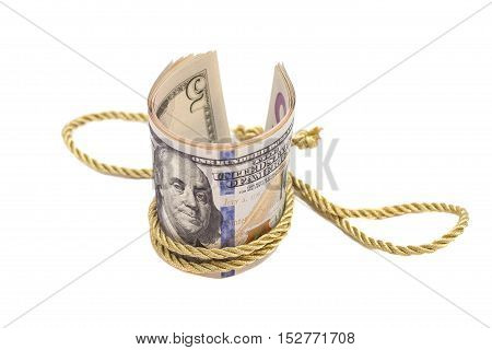 hundred dollar banknotes with golden rope band isolated on white background