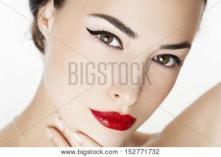 woman portrait with red lips beauty closeup