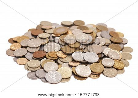stack coins isolated on a white background