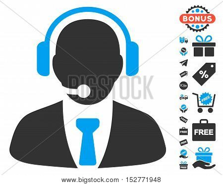 Support Manager pictograph with free bonus pictograms. Vector illustration style is flat iconic symbols, blue and gray colors, white background.