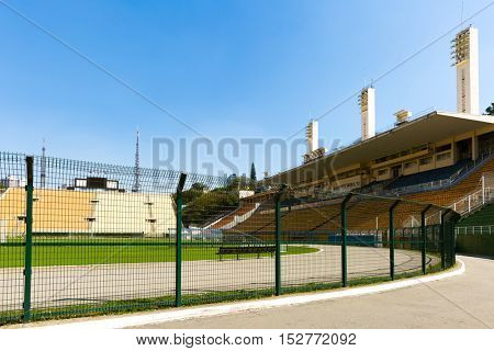 SAO PAULO, BRAZIL - CIRCA SEPTEMBER 2014: Pacaembu Municipal Stadium in Sao Paulo, Brazil