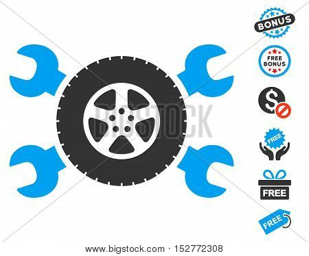 Tire Service Wrenches pictograph with free bonus pictures. Vector illustration style is flat iconic symbols, blue and gray colors, white background.
