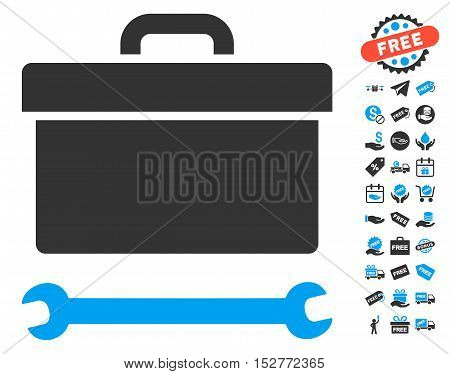 Toolbox pictograph with free bonus pictograph collection. Vector illustration style is flat iconic symbols, blue and gray colors, white background.