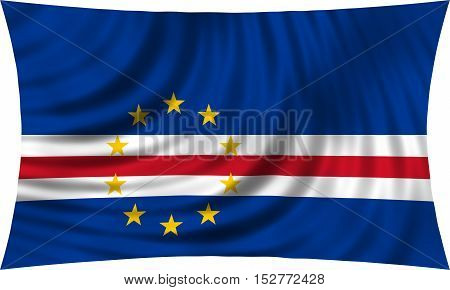 Cape Verdean national official flag. African patriotic symbol banner element background. Correct colors. Flag of Cape Verde waving isolated on white 3d illustration