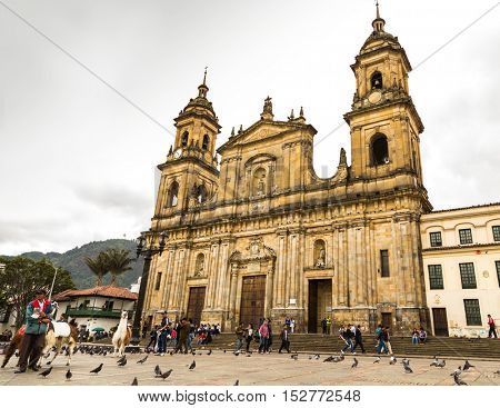 BOGOTA, COLOMBIA - CIRCA NOV 2015: The famous Cathedral in Bogota, Colombia