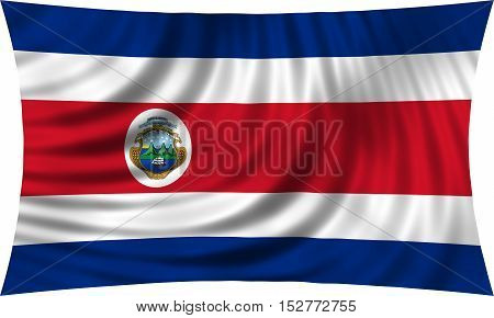 Costa Rican national official flag. Patriotic symbol banner element background. Correct colors. Flag of Costa Rica waving isolated on white 3d illustration