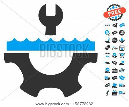 Water Service Gear icon with free bonus symbols. Vector illustration style is flat iconic symbols, blue and gray colors, white background.